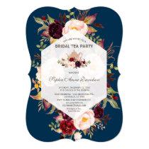 Geometric Floral Navy Blue Bridal Shower Tea Party Invitation