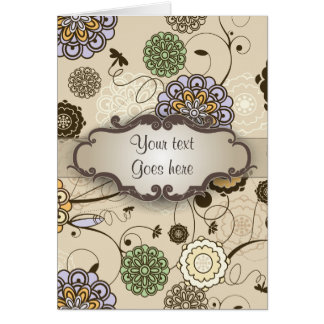 Geometric Floral on Tan with Nameplate Card