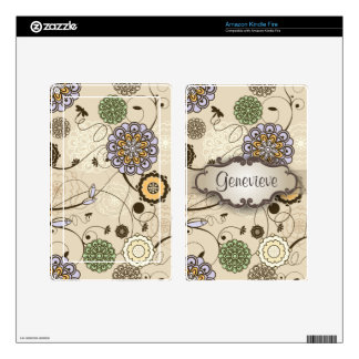 Geometric Floral on Tan with Nameplate Skins For Kindle Fire