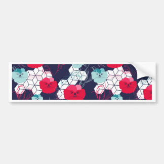 Geometric floral pattern bumper sticker