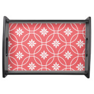 Geometric Floral Pattern | Coral White Serving Platter