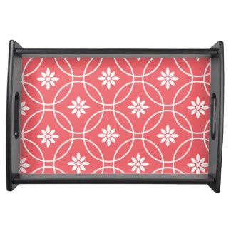 Geometric Floral Pattern | Coral White Serving Platter