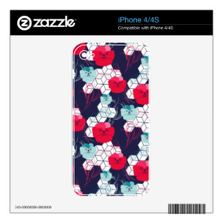 Geometric floral pattern decal for the iPhone 4