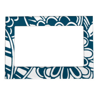 Geometric Floral Pattern in Graphic Bold Blue Magnetic Photo Frames