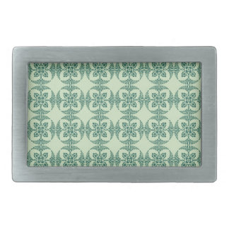 Geometric Floral Pattern in Green Belt Buckle