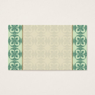 Geometric Floral Pattern in Green Business Card