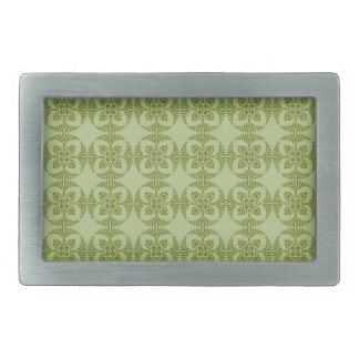 Geometric Floral Pattern in Green Rectangular Belt Buckle