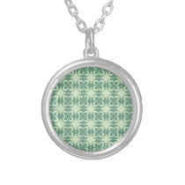 Geometric Floral Pattern in Green Silver Plated Necklace