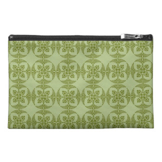 Geometric Floral Pattern in Green Travel Accessories Bag