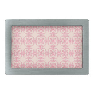 Geometric Floral Pattern in Pink and Cream Belt Buckle