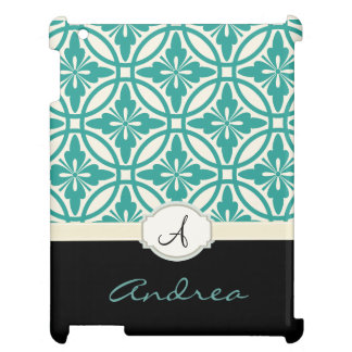 Geometric Floral Pattern Monogram iPad Cover