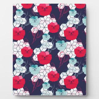 Geometric floral pattern plaque