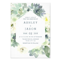 Geometric Floral Succulent Wedding Invitations