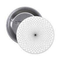 Geometric flower pattern, black & white pinback button