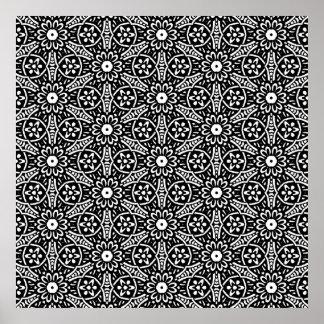 Geometric Flower Pattern Posters