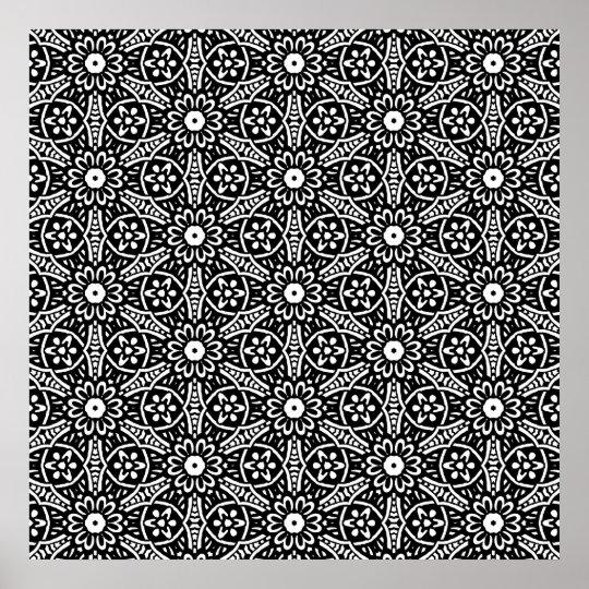 Geometric Flower Pattern Poster