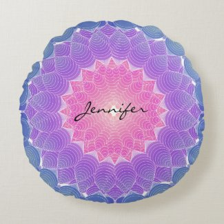 Geometric flower round pillow