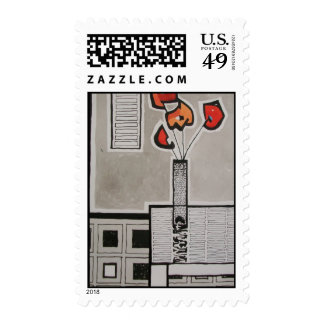 Geometric Flowers in a Vase Postage