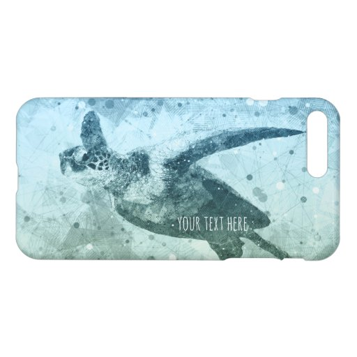 Geometric Flying Green Sea Turtle iPhone 8 Plus/7 Plus Case