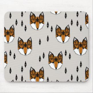 Geometric Fox Head / Grey Neutral / Andrea Lauren Mouse Pad
