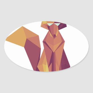 Geometric Fox Oval Sticker
