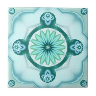 Geometric Fractal in Teal Turquoise Bathroom Tile