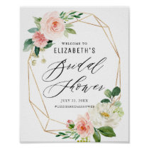 Geometric Frame Botanical Bridal Shower Welcome Poster