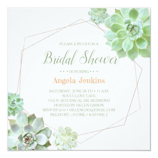 eb028fa70165 Geometric Frame Succulents Bridal Shower Invitation