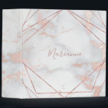 "geometric frames and pink marble 3 ring binder<br><div class=""desc"">elegant marble look binder</div>"