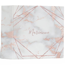 geometric frames and pink marble 3 ring binder