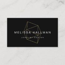 Geometric Gemstone Black Business Card