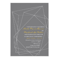 Geometric Gemstone Wedding Invitation in Gray