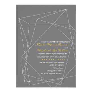 Geometric Gemstone Wedding Invitation in Gray