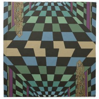 Geometric Geometrix Teal Turquoise Blue Green Napkin