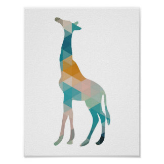 Geometric Giraffe Silhouette Poster