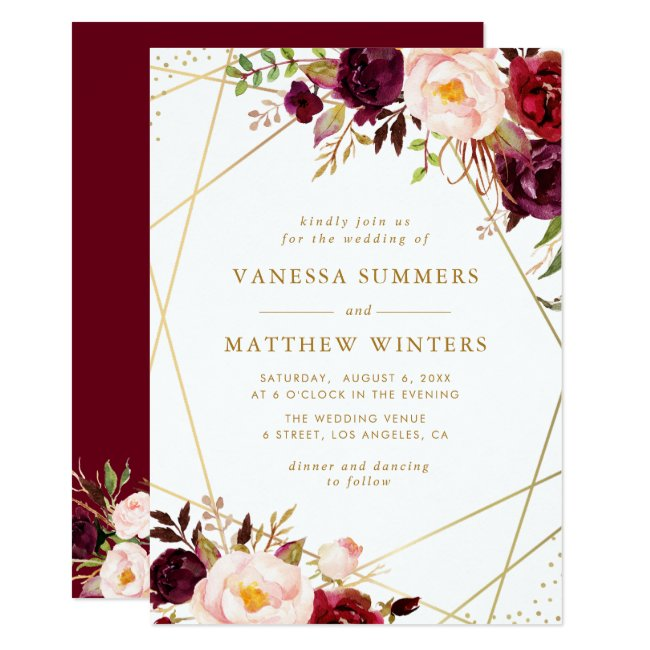Geometric gold frame burgundy floral wedding invitation