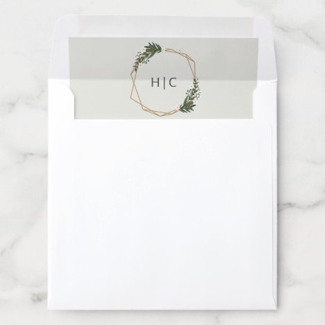 Geometric Gold Frame Greenery Monogram Wedding Envelope Liner
