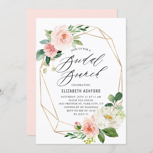 Geometric Gold Frame Pink Florals Bridal Brunch Invitation
