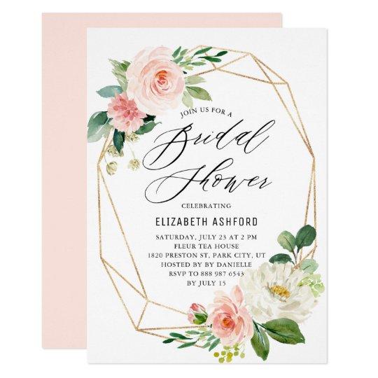0feae480af04 Geometric Gold Frame Pink Florals Bridal Shower Invitation