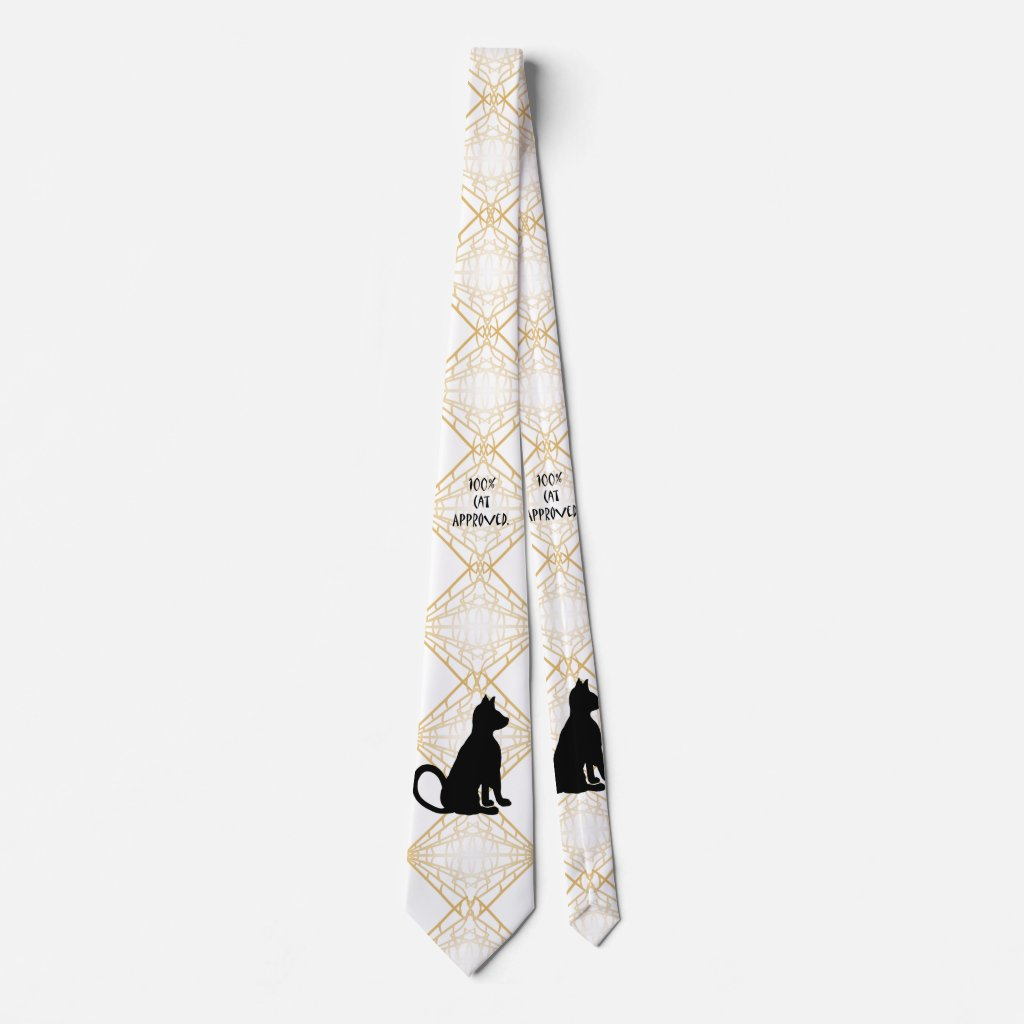 Geometric Gold Fun Christmas Cat Men's Chic Tie