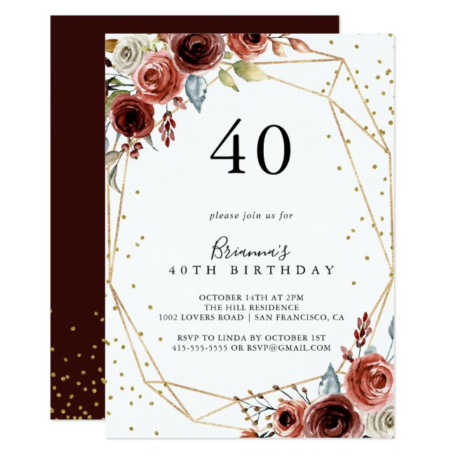 Geometric Gold Glitter Spring 40th Birthday Party Invitation