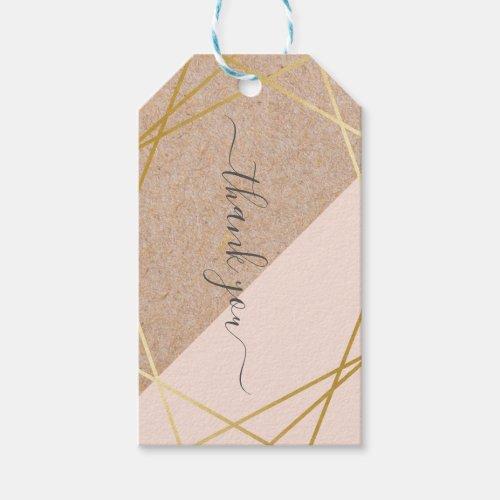 Geometric Gold Kraft Printed Pastel Pink Thank You Gift Tags