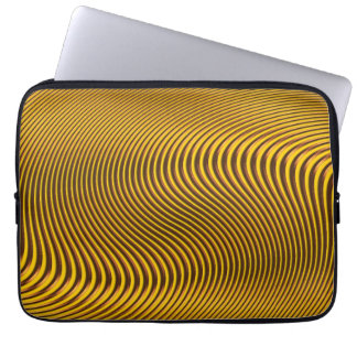 Geometric Gold Optical Illusion Op Art Laptop Case