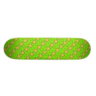 geometric gold stars on green skateboard