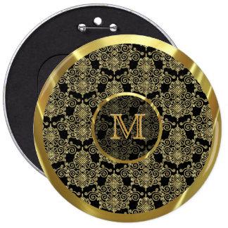 Geometric Gold Tones Pattern-Custom Monogram Pinback Button
