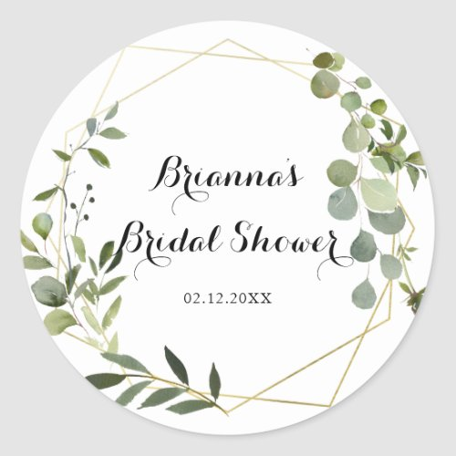 Geometric Gold Tropical Green Bridal Shower Favor Classic Round Sticker