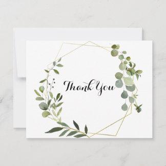 Geometric Gold Tropical Green Leaves Flat Wedding Thank You Card
