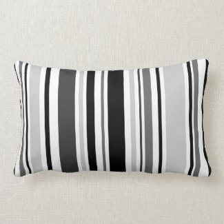 Geometric Gray, Black, White Stripes Lumbar Pillow