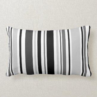 Geometric Gray, Black, White Stripes Lumbar Pillow