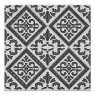 Geometric Gray Pattern Graphic Art Vintage Poster